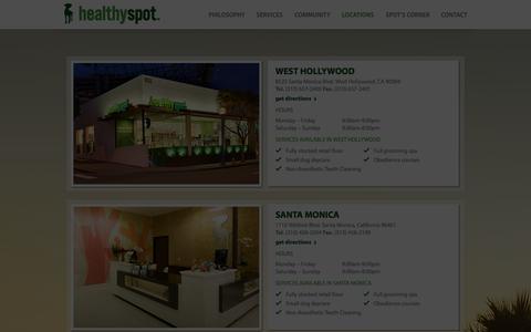 Screenshot of Locations Page healthyspot.com - Locations - Healthy Spot - Organic Pet Food & Supply - captured Oct. 8, 2014