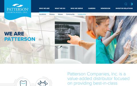 Screenshot of Team Page Locations Page pattersoncompanies.com - Patterson Companies, Inc. - Who We Are - captured April 13, 2018