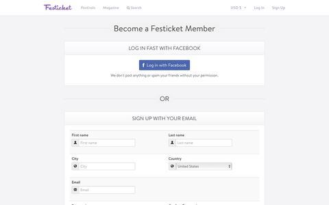 Screenshot of Signup Page festicket.com - Become a Festicket Member – Festicket - captured July 4, 2016