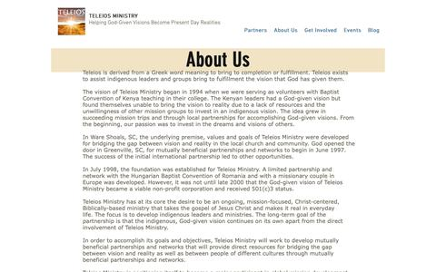Screenshot of About Page teleiosministry.org - About Us | Teleios Ministry - captured Oct. 20, 2018