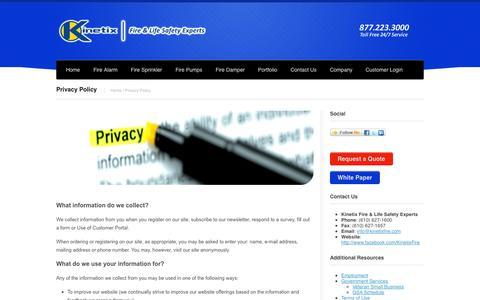 Screenshot of Privacy Page kinetixfire.com - Privacy Policy   Kinetix FireKinetix Fire - captured Oct. 6, 2014