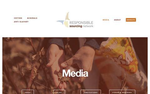 Screenshot of Press Page sourcingnetwork.org - Media — Responsible Sourcing Network - captured Feb. 19, 2018