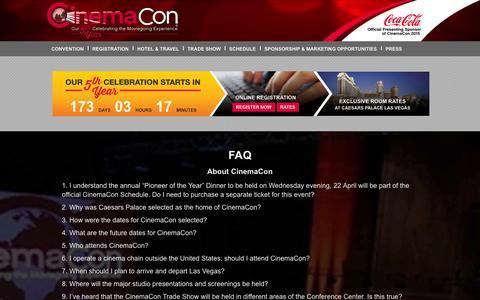 Screenshot of FAQ Page cinemacon.com - FAQ | CinemaCon - captured Oct. 28, 2014
