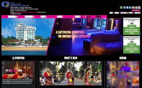 Screenshot of Home Page qresorts.in - The Quilon Beach Hotel - captured Oct. 6, 2014