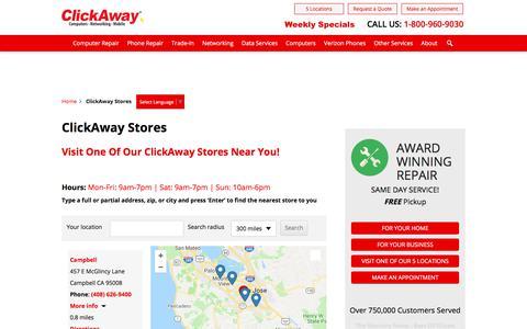 Screenshot of Locations Page clickaway.com - ClickAway Computer & Phone Repair | Store Locations - captured June 30, 2018