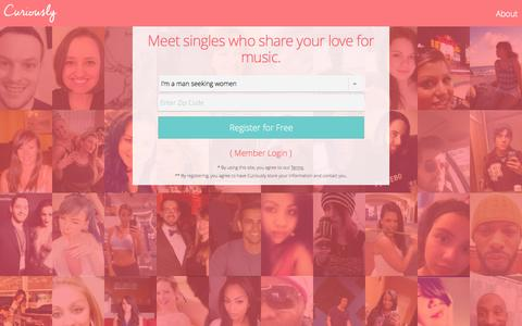 Screenshot of Home Page curiously.com - Free Online Music Dating Site by Curiously - captured Sept. 18, 2015