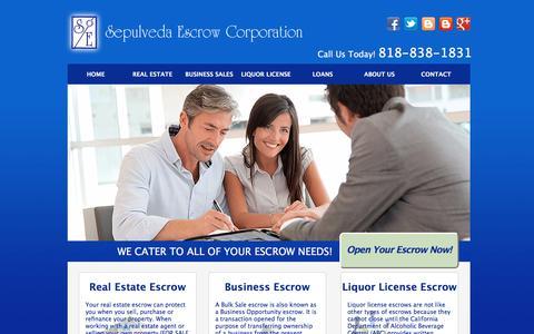 Screenshot of Home Page sepulvedaescrow.net - Sepulveda Escrow Corporation | 818-838-1831 - captured Oct. 19, 2017