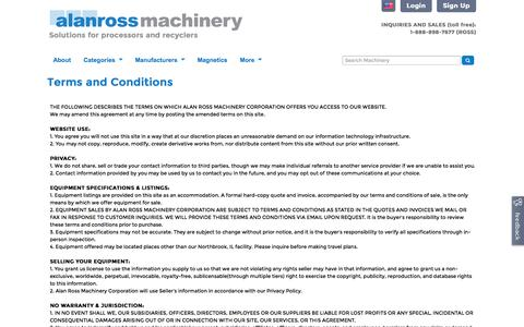 Screenshot of Terms Page alanross.biz - Terms and Conditions | Alan Ross Machinery - captured Nov. 2, 2014