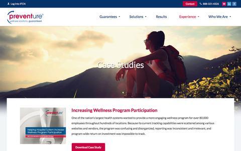 Screenshot of Case Studies Page preventure.com - Preventure - captured June 16, 2016