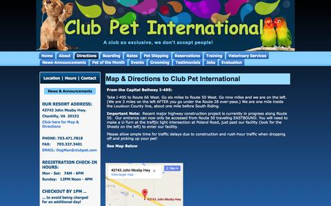 Screenshot of Maps & Directions Page clubpet.com - Map & Directions to Club Pet International | Club Pet International - captured Jan. 29, 2016