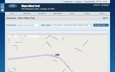 Screenshot of Maps & Directions Page odomford.com - Directions at Wynn Odom Ford - Your La Grange, North Carolina Ford dealer - captured Oct. 9, 2014