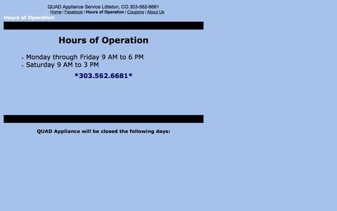 Screenshot of Hours Page quadapplianceservice.com - Hours of Operation - captured Sept. 27, 2014