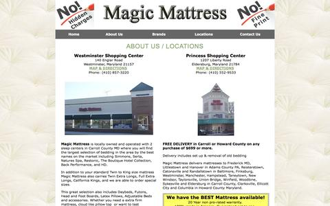 Screenshot of About Page Locations Page magicmattress.com - Carroll County MD Mattress Delivery Howard County Maryland | Twin, King, Full, Daybeds, Futons, Head Foot Boards, Latex Pillows, Adjustable Beds Eldersburg, Westminster - captured Oct. 22, 2014