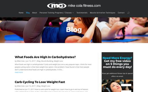 Screenshot of Blog mikecolafitness.com - Personal Training Blog Westchester NY | Mike Cola Fitness - captured July 4, 2017