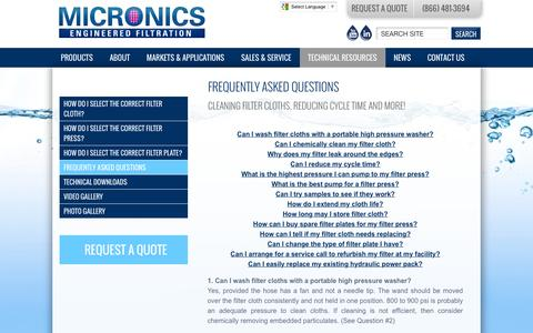 Screenshot of FAQ Page micronicsinc.com - FAQs About Filter Cloths, Plates, Presses and More | Micronics - captured Jan. 10, 2016