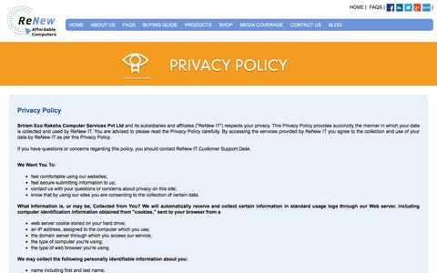 Screenshot of Privacy Page renewit.in - Privacy Policy | RenewIT - captured Oct. 21, 2017