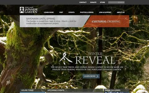 Screenshot of Home Page japanesegarden.com - Portland Japanese Garden - captured Jan. 30, 2016