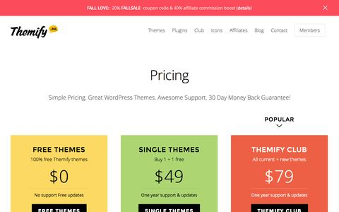 Screenshot of Pricing Page themify.me - Pricing - Themify - captured Sept. 18, 2014