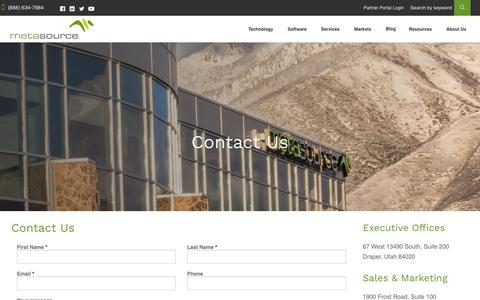 Screenshot of Contact Page metasource.com - Contact Us - MetaSource - captured Dec. 10, 2018
