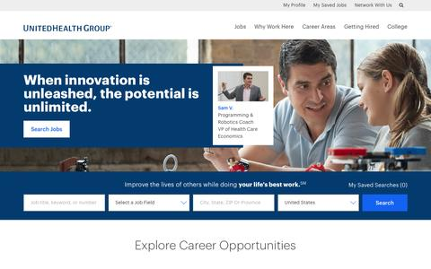 Screenshot of Jobs Page unitedhealthgroup.com - Careers at UnitedHealth Group - captured April 1, 2017