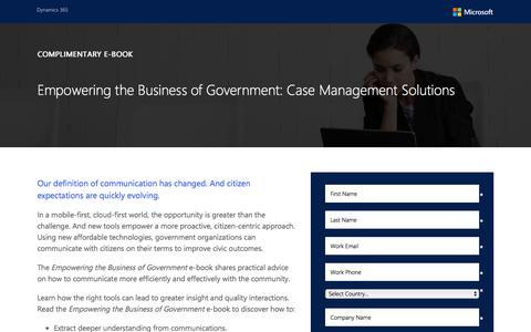 Screenshot of Landing Page microsoft.com - Case Management Solutions - captured July 24, 2017