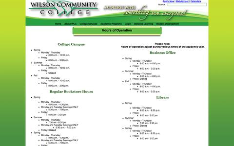 Screenshot of Hours Page wilsoncc.edu - Hours of Operation - captured Oct. 7, 2014