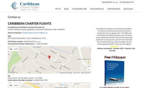Screenshot of Contact Page caribbean-charter-flights.com - Caribbean Charter Flights Offices   Door to door charter services - captured Dec. 7, 2015