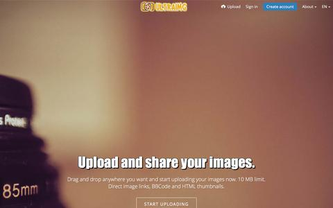 Screenshot of Home Page ultraimg.com - UltraIMG - UltraIMG - 100% Free Image Hosting - Upload JPG BMP GIF PNG - captured Jan. 13, 2016
