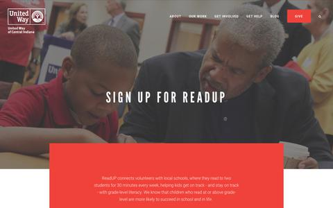Screenshot of Signup Page uwci.org - Sign Up for ReadUP - United Way Central Indiana - captured Oct. 18, 2018
