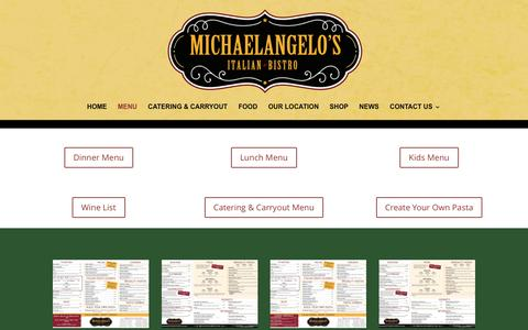 Screenshot of Menu Page michaelangelosbistro.com - Menu - Michaelangelo's Bistro - captured March 4, 2016