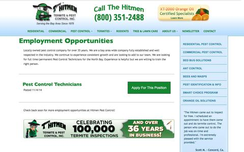 Screenshot of Jobs Page hitmenpest.com - Applications | The Hitmen Termite & Pest Control - captured Aug. 26, 2016