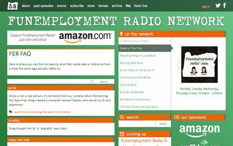 Screenshot of FAQ Page funemploymentradio.com - FER FAQ | Funemployment Radio - captured Oct. 2, 2014