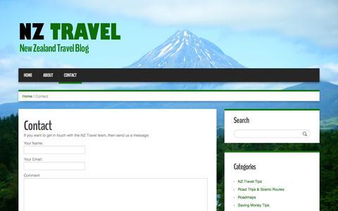 Screenshot of Contact Page nz-travel.co.nz - Contact - NZ Travel - captured June 28, 2018
