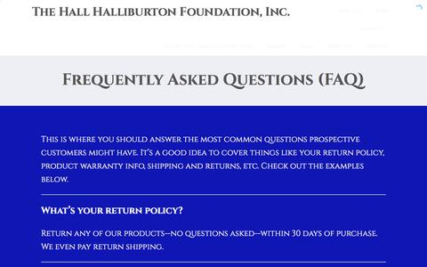Screenshot of FAQ Page hallhalliburton.org - Frequently Asked Questions (FAQ) – The Hall Halliburton Foundation, Inc. - captured Oct. 19, 2016