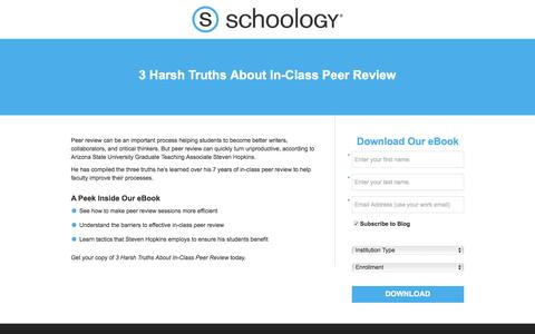 Screenshot of Landing Page schoology.com - 3 Harsh Truths About In-Class Peer Review - captured Jan. 23, 2018