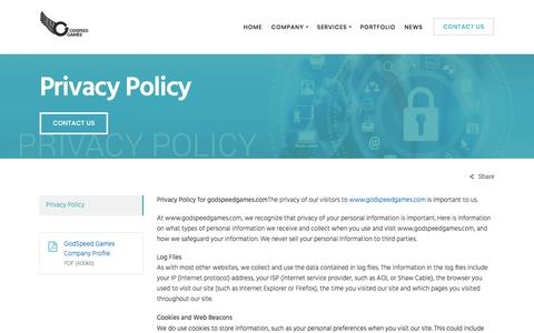 Screenshot of Privacy Page godspeedgames.com - Privacy Policy | Website Policy | Terms and Conditions of GodSpeedGames - captured July 20, 2018