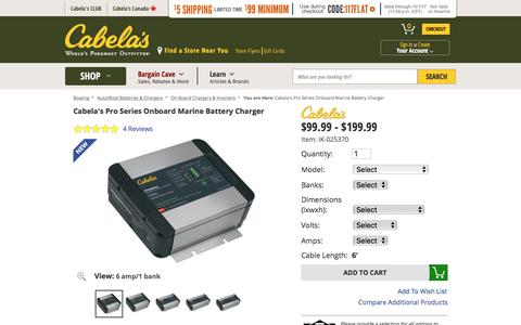 Cabela's Pro Series Onboard Marine Battery Charger : Cabela's