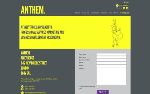Screenshot of Contact Page anthemconsulting.co.uk - Contact Anthem Consulting - Professional Recruitment - captured Sept. 30, 2014