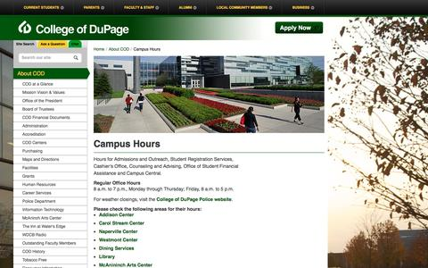 Screenshot of Hours Page cod.edu - College of DuPage - Campus Hours - captured Jan. 29, 2016