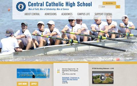 Screenshot of Home Page centralcatholichs.com - Central Catholic High School - captured Jan. 26, 2016