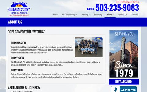 Screenshot of About Page skyheating.com - About Us | Sky Heating & Air Conditioning - captured Feb. 4, 2016