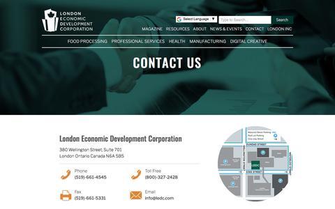 Screenshot of Contact Page ledc.com - Contact Us   London Economic Development Corporation - captured Jan. 18, 2018