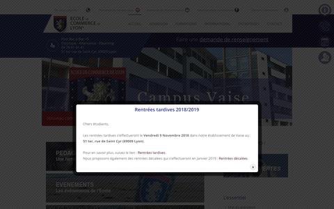 Screenshot of Home Page ecole-de-commerce-de-lyon.fr - Ecole de Commerce de Lyon - Formations Bachelor et MBA à Lyon - ECL - - captured Nov. 4, 2018