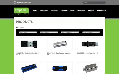 Screenshot of Products Page empa-me.com - Products - EMPA - captured Oct. 1, 2014