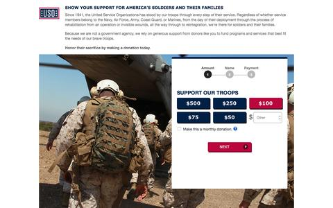 Screenshot of Landing Page uso.org - Donate | USO.org - captured April 16, 2017