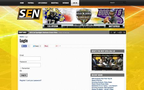 Screenshot of Login Page sentelevision.com - Login - SEN - captured Oct. 3, 2014