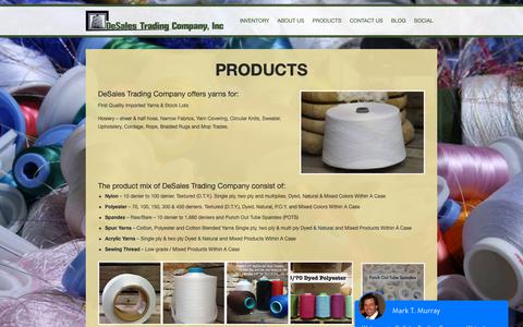 Screenshot of Products Page desales.com - DeSales Trading   Products - captured Oct. 8, 2018