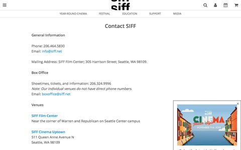 Screenshot of Contact Page siff.net - Contact SIFF - captured Nov. 3, 2019