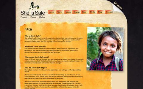 Screenshot of FAQ Page sheissafe.org - FAQs | She Is Safe - captured Dec. 8, 2016