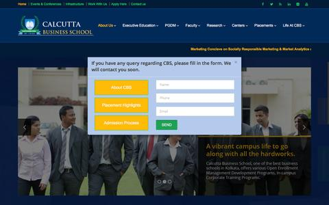 Screenshot of Home Page About Page calcuttabusinessschool.org - Calcutta Business School | Home - captured Dec. 6, 2015